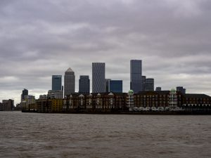 Canary Wharf on a cloudy day