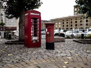 St Katherine's Dock traditional Telephone Box and Post Box